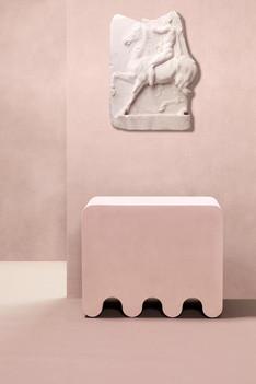 Ossicle leather stool designed by Francesco Balzano