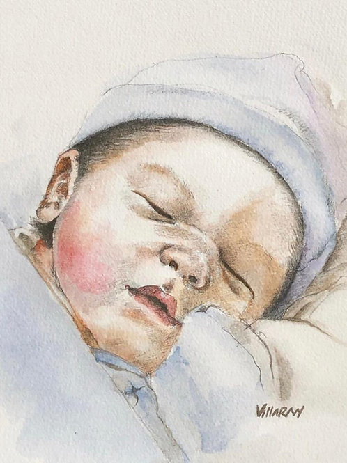 Retrato bebé personalizado a lapiz con color