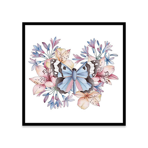 Cuadro Mariposa y flores
