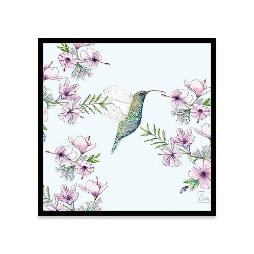 Cuadro Colibrí con flores