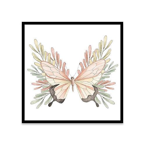 Cuadro Mariposa y hojas