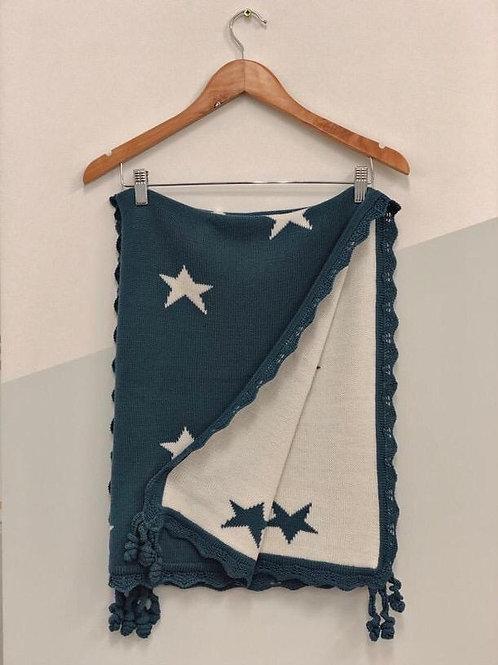 Manta Tejida Mariana Estrellas Azul