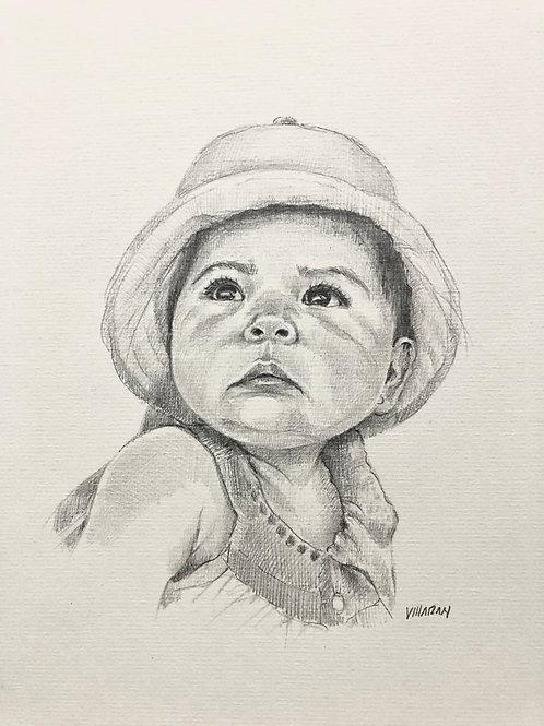 Retrato bebé personalizado a lapiz blanco y negro