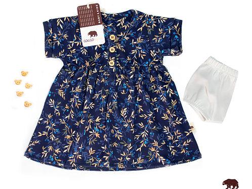 Vestido Azul Floreado con bombacha