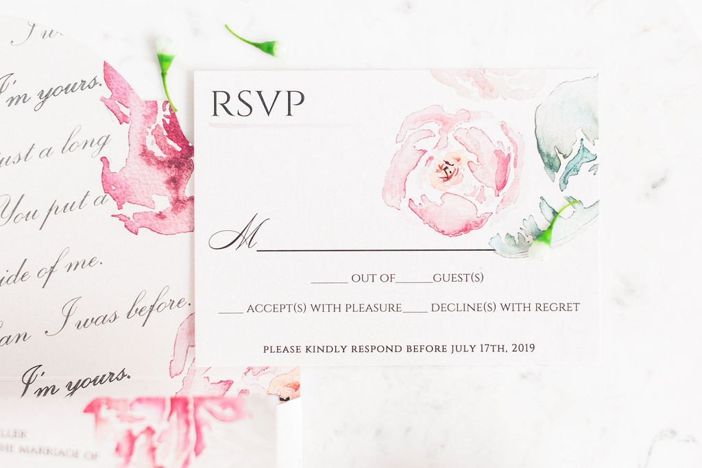Blushing Beauty- Blush Wedding Invitations with Pink Watercolor Florals rsvp