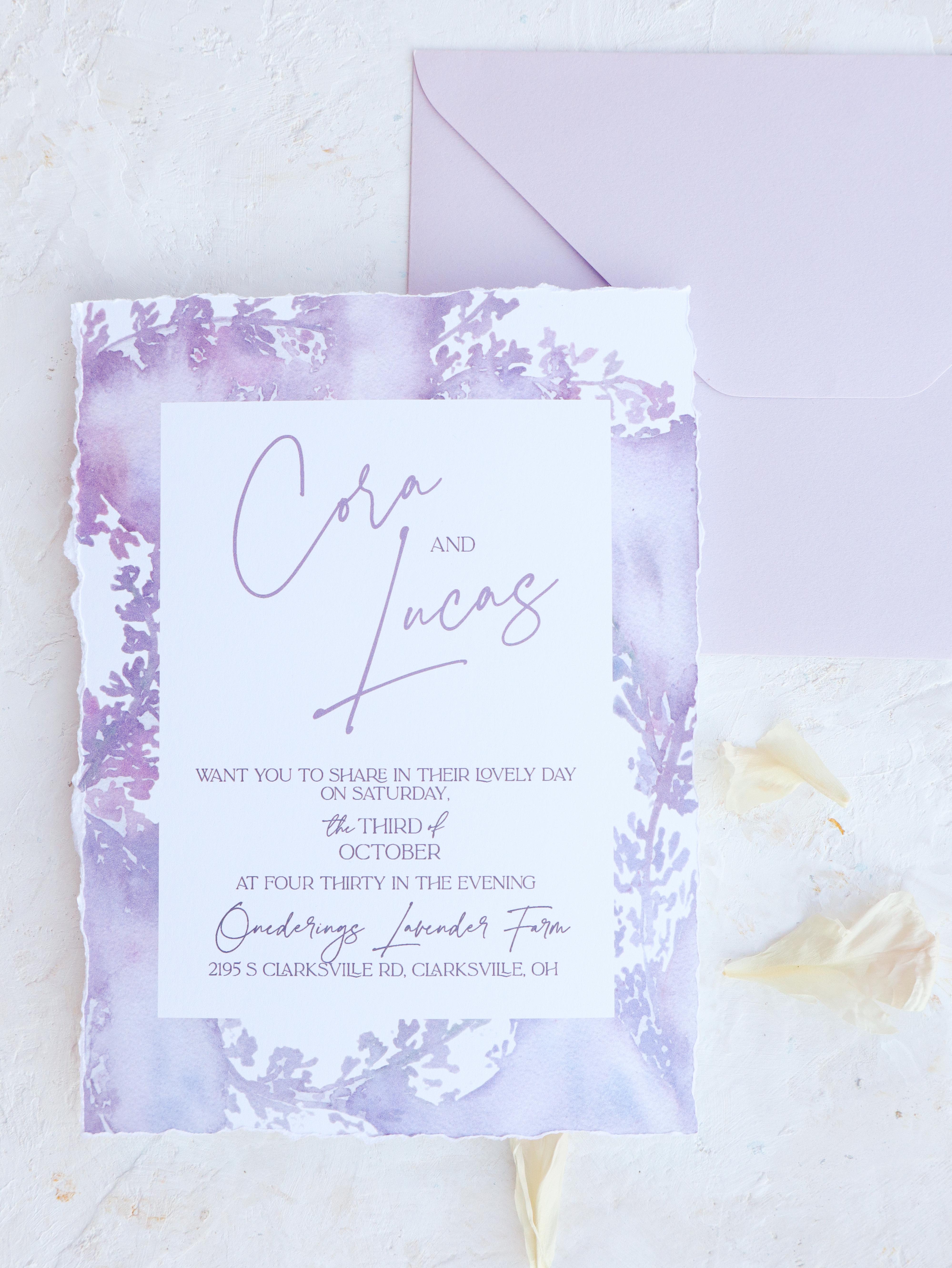 Romantic Lavender Wedding Invitation with torn edges