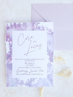 Romantic Lavender Wedding Invitation with torn edges