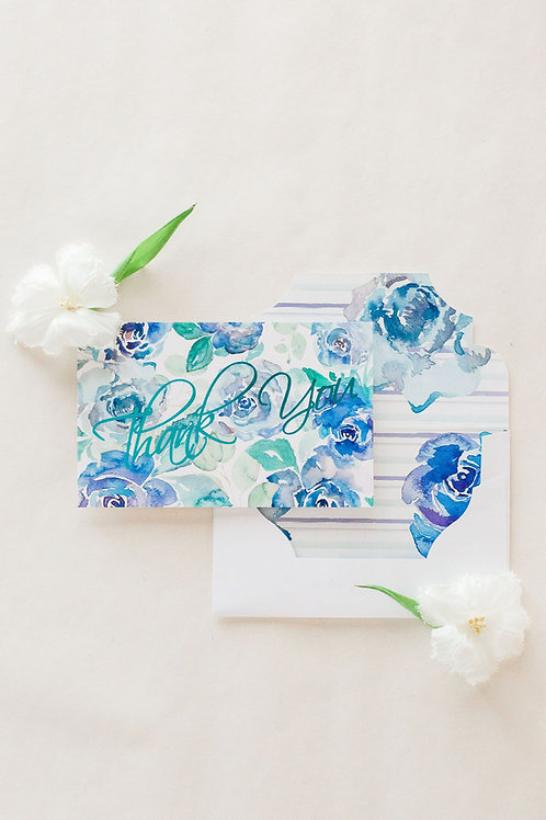 Large luxury thank you card with blue foil