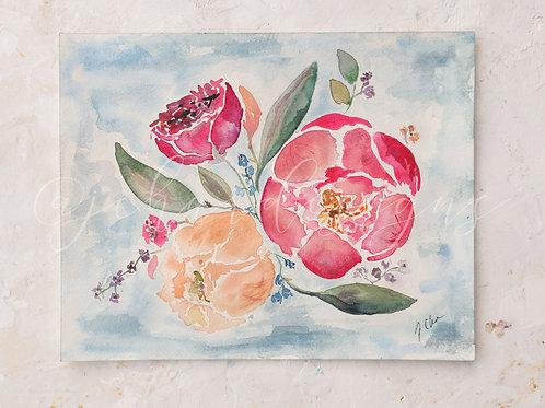 Peony Cloud Watercolor Floral PeonyArt Print 1