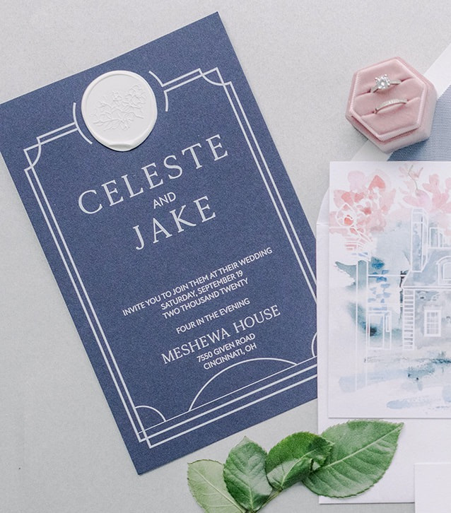 Blue and white printed invitations with wax seal