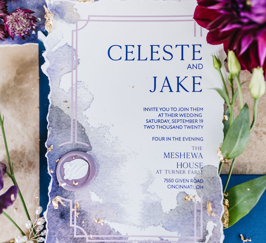 Purple Seas- blue and purple abstract watercolor wedding invitation