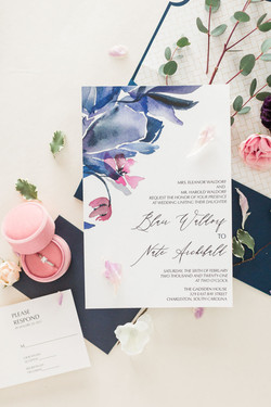 classic and modern blue invitations