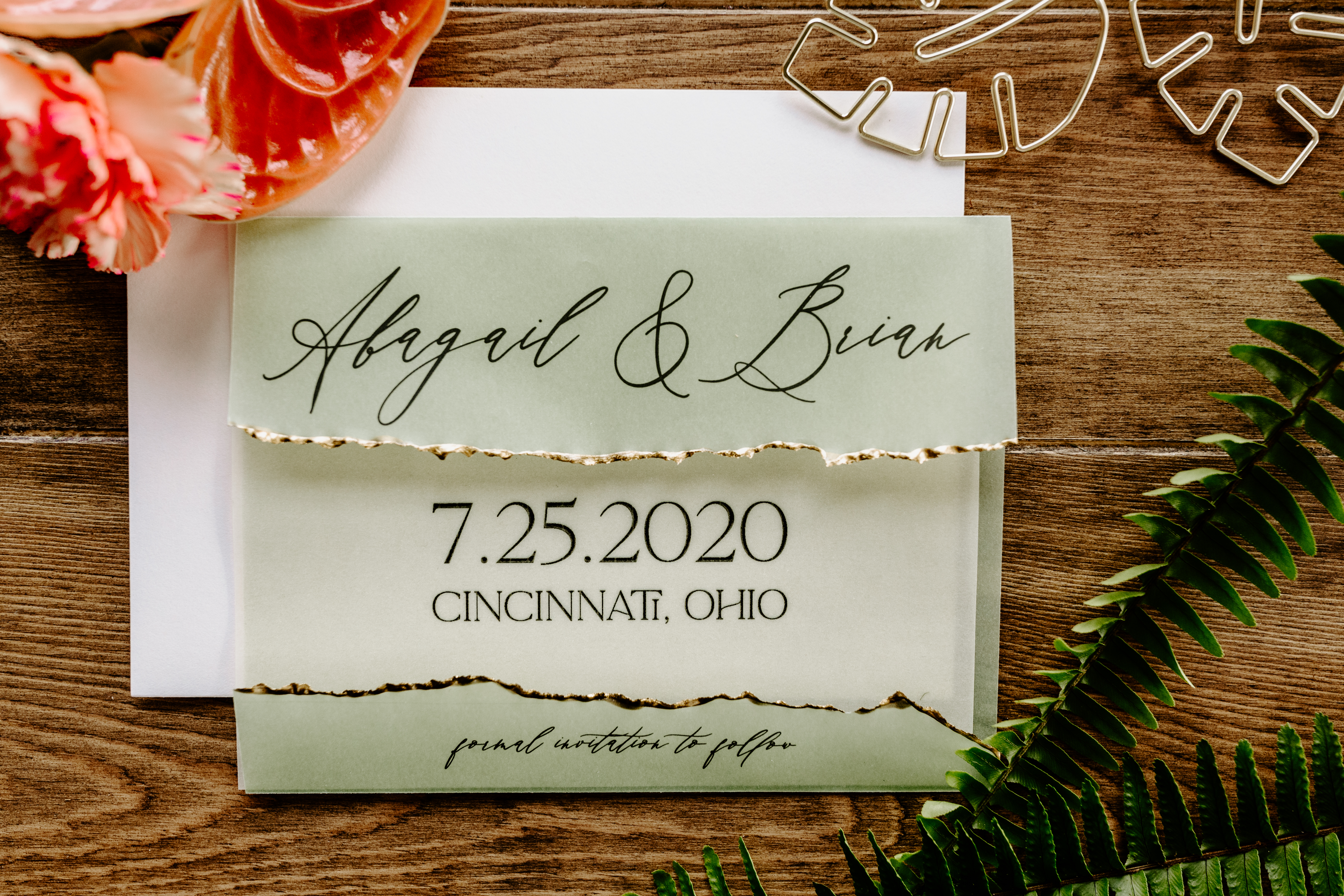 gold deckled edge save the date