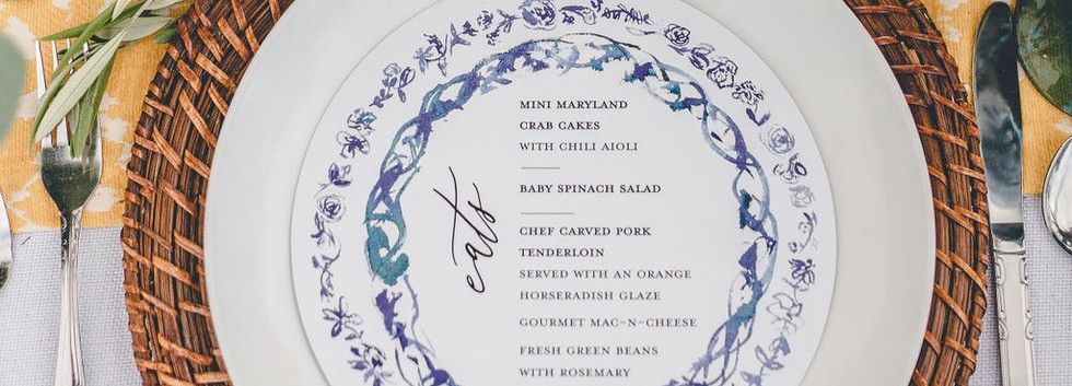 blue italian inspired round menu