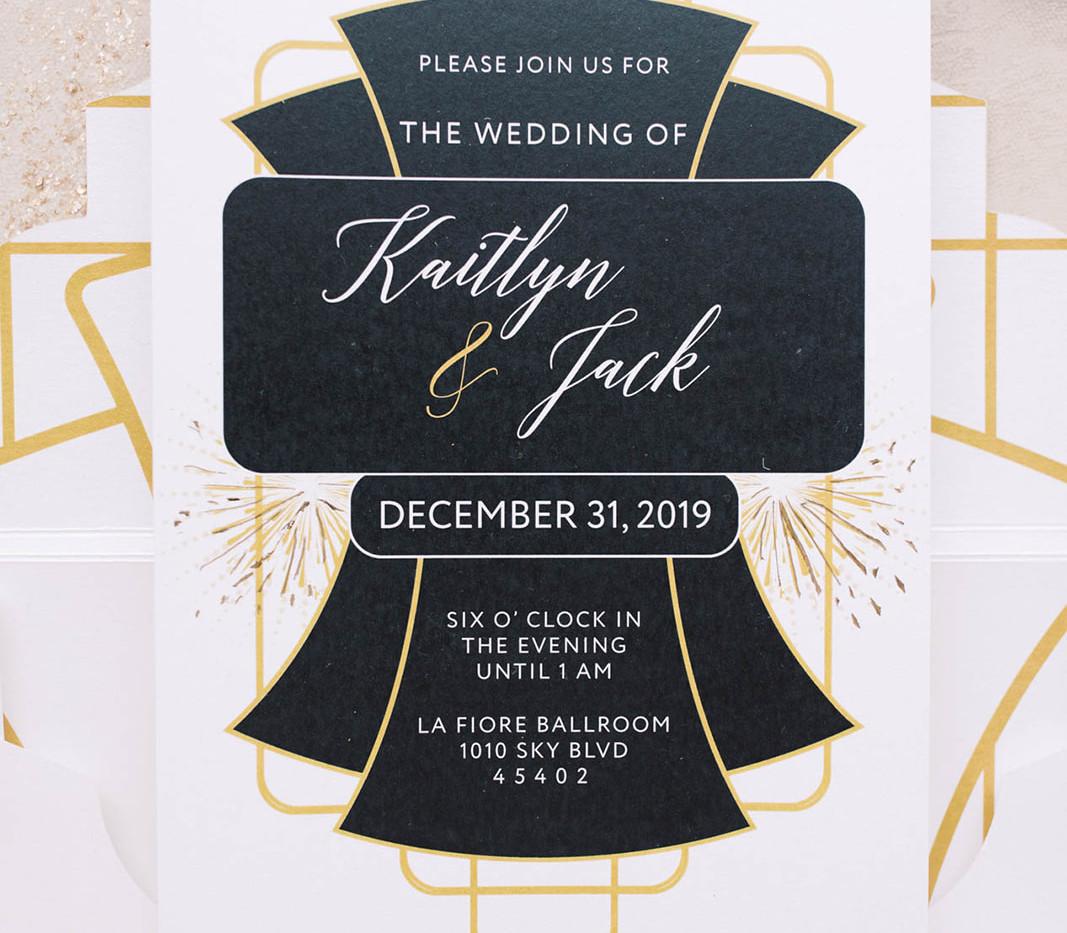 Modern Gatsby- Art deco wedding invitation 1