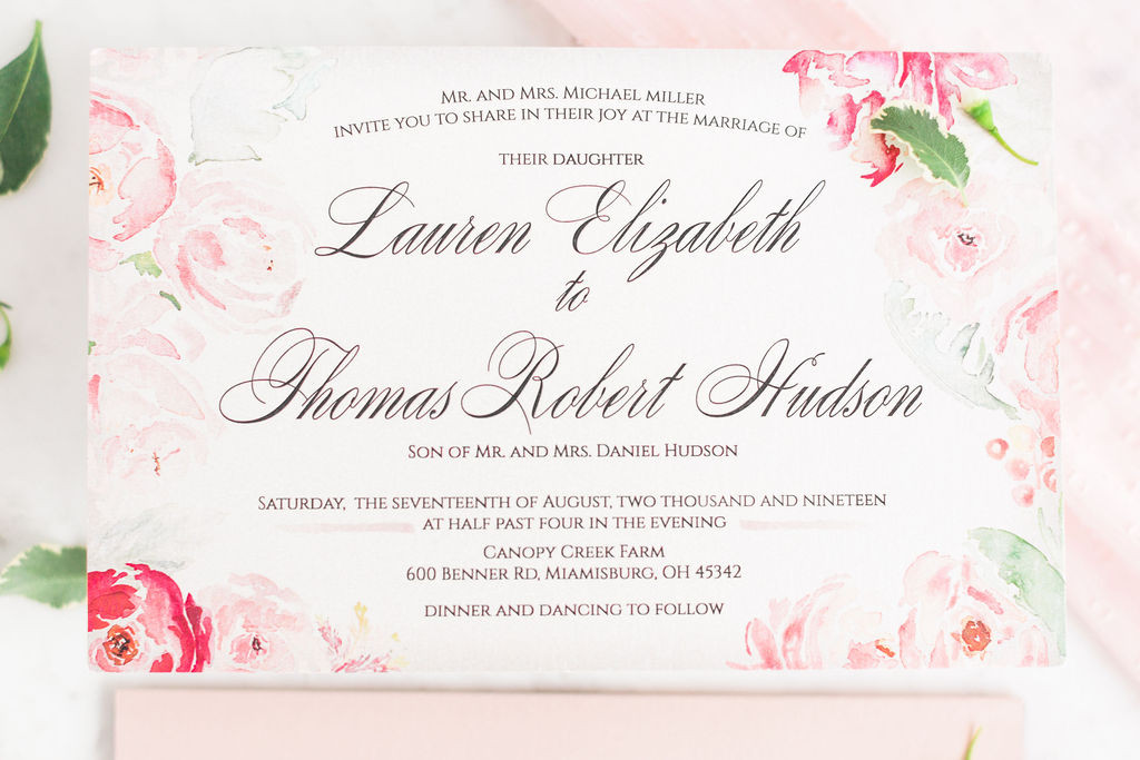 Blushing Beauty- Blush Wedding Invitations with Pink Watercolor Florals 2