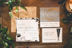 black and white patterned invitation