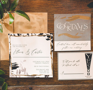 Perfectly Patterned - Black and white invitation with mix of patterns