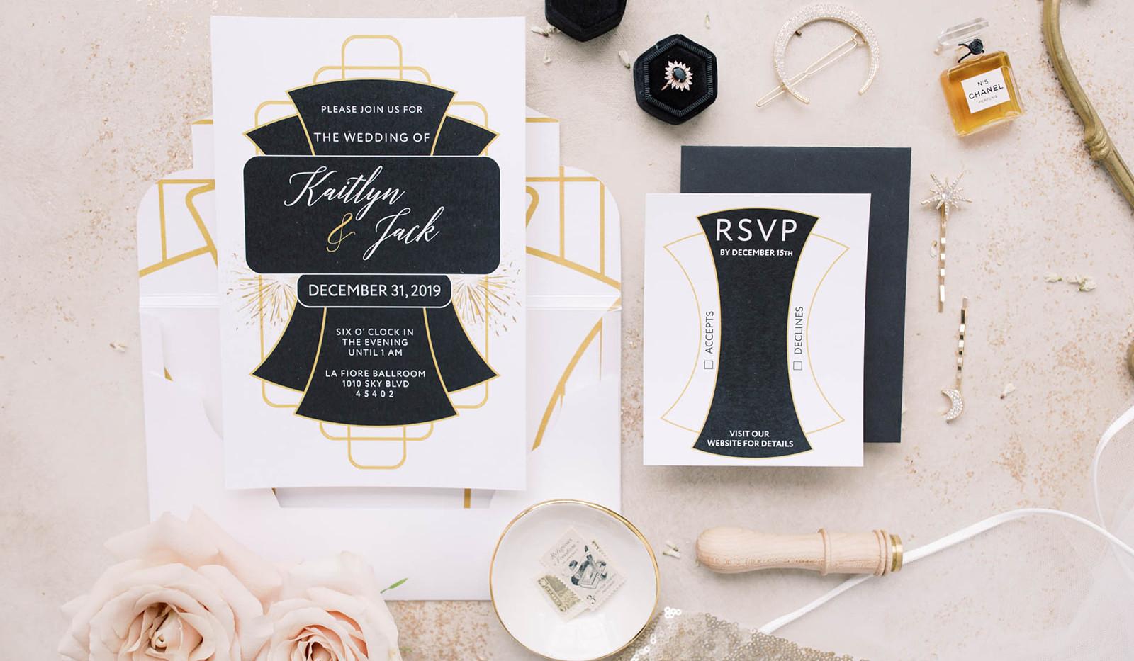 Modern Gatsby- Art deco wedding invitation 2