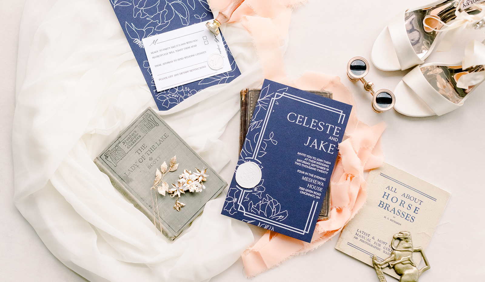 Timeless Blue- Navy blue with white print wedding invitation 2