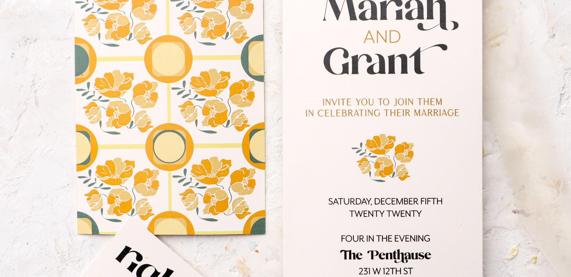 Retro Sun- 70s inspired retro patterned wedding invitations