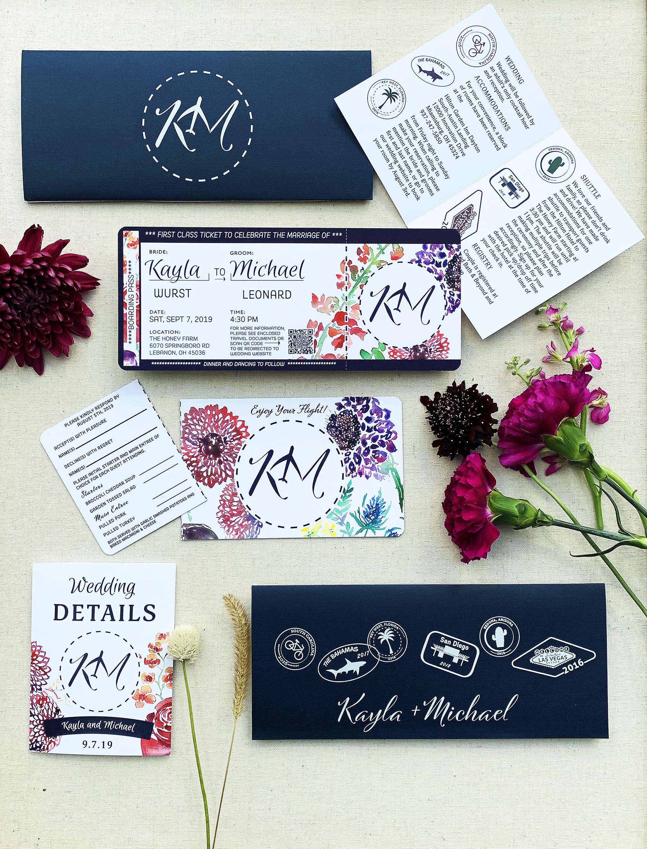 wildflower plane ticket invitation