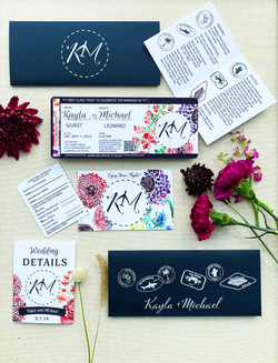 wildflower plane ticket invitation