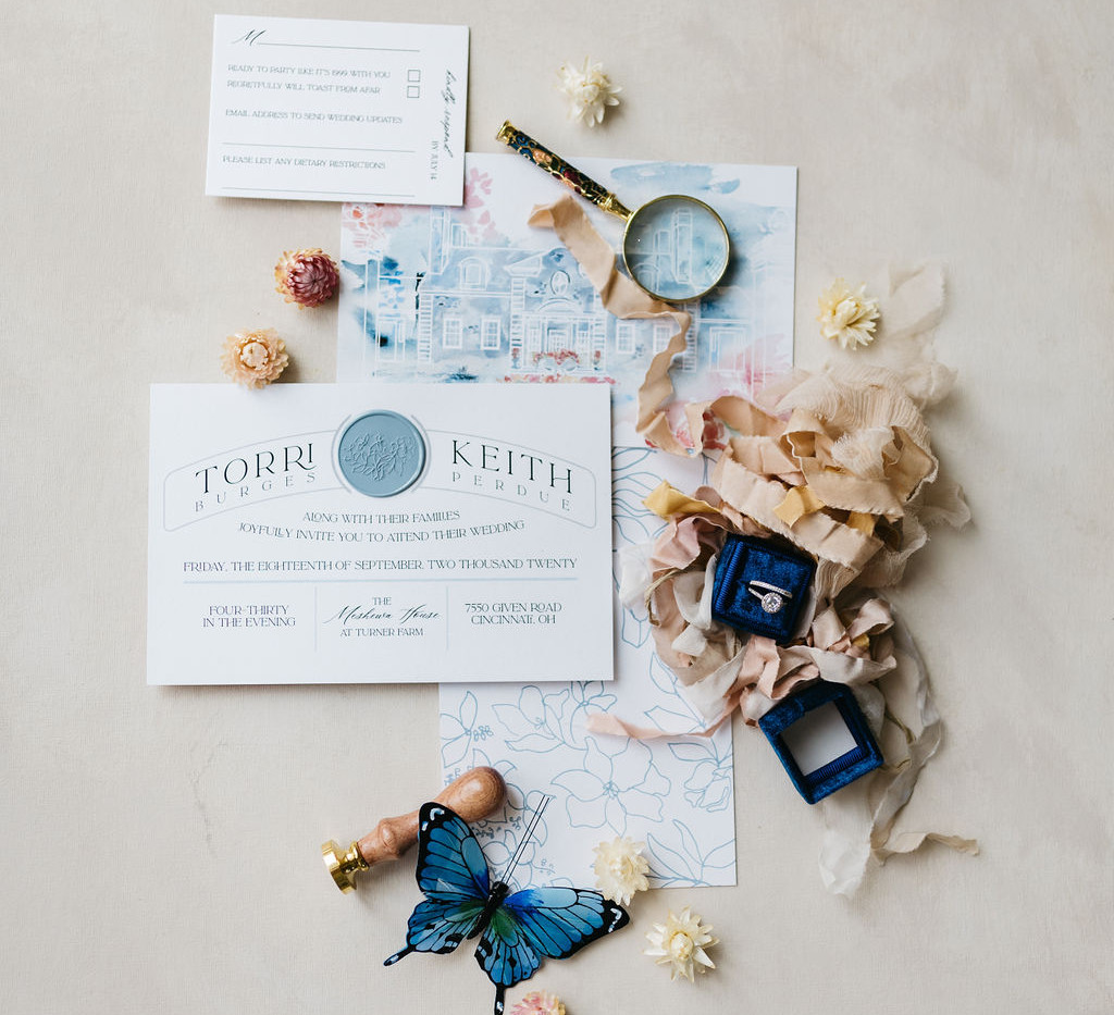 Clean and Modern Wedding invitaitons with wax seal