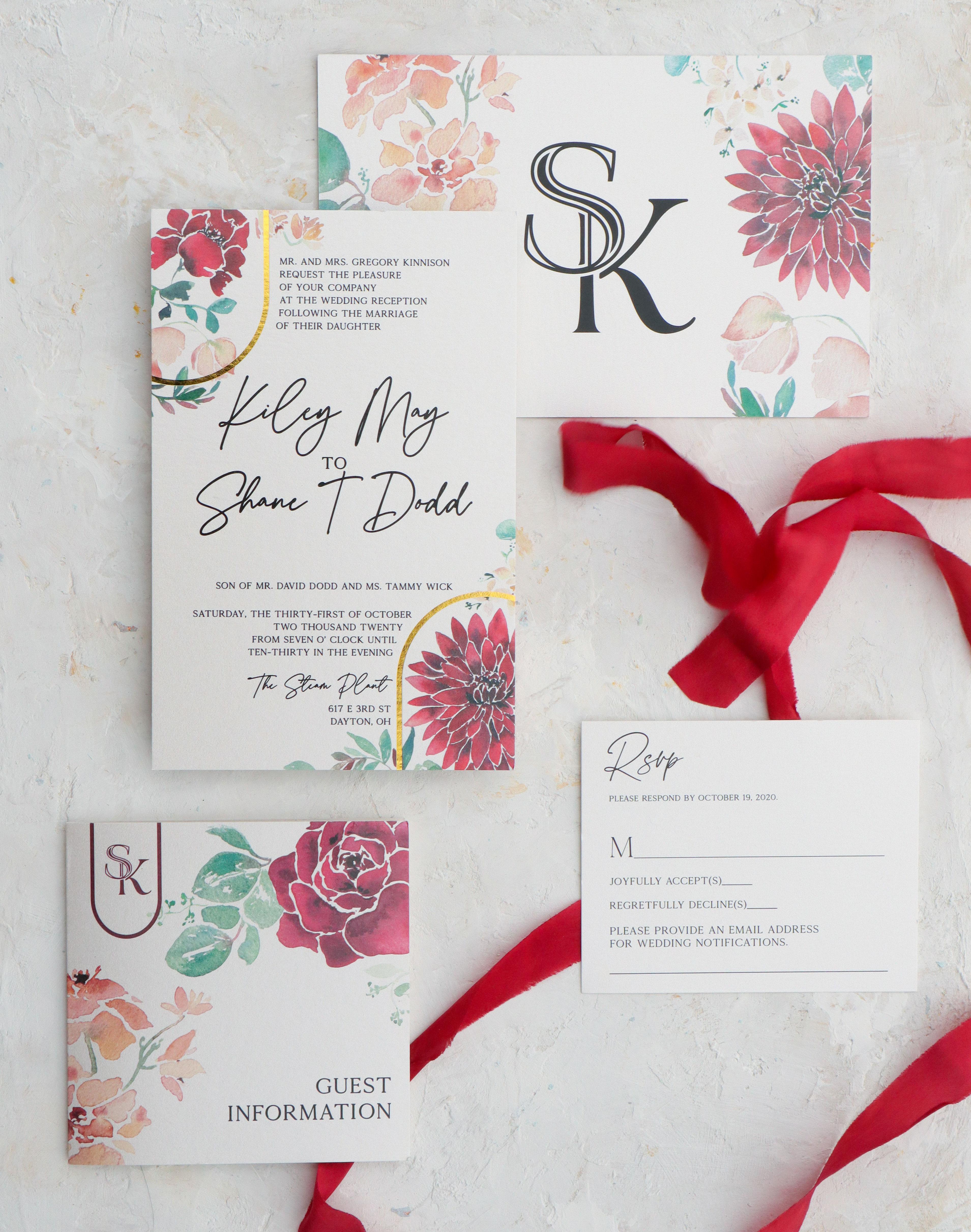 Burgundy wedding invitation with foil arches