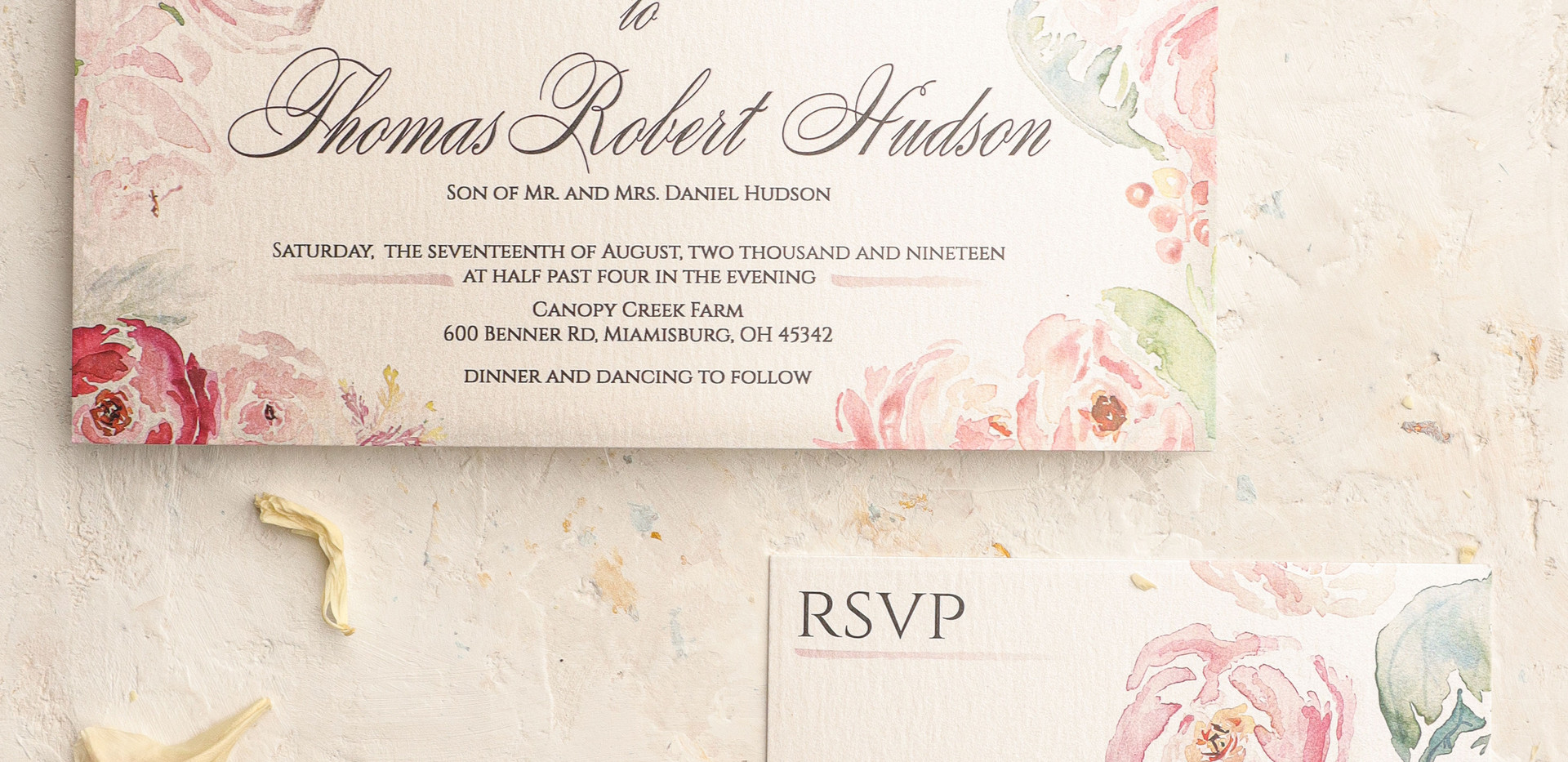 Blushing Beauty- Blush Wedding Invitations with Pink Watercolor Florals 1