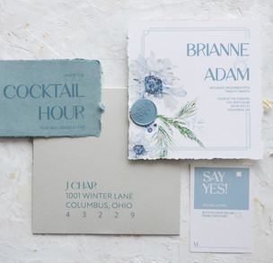 Winter Blues-Blue watercolor invitation with wax seal