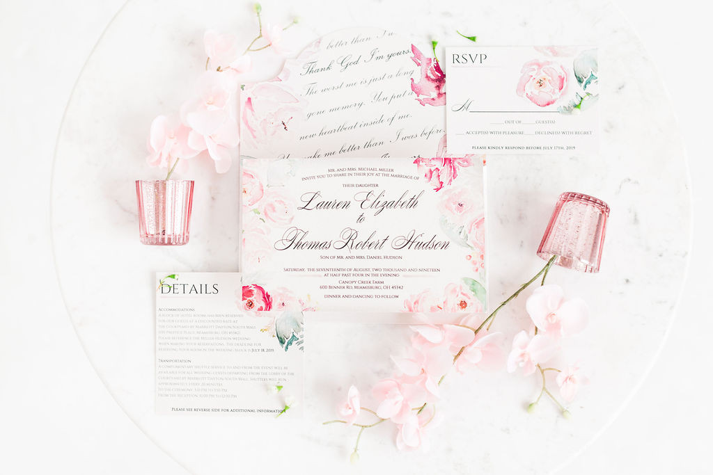 Blushing Beauty- Blush Wedding Invitations with Pink Watercolor Florals 3