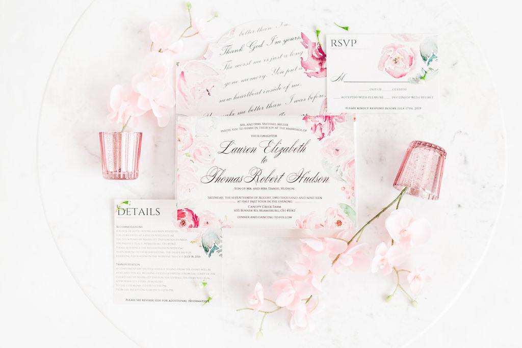 blush watercolor invitation
