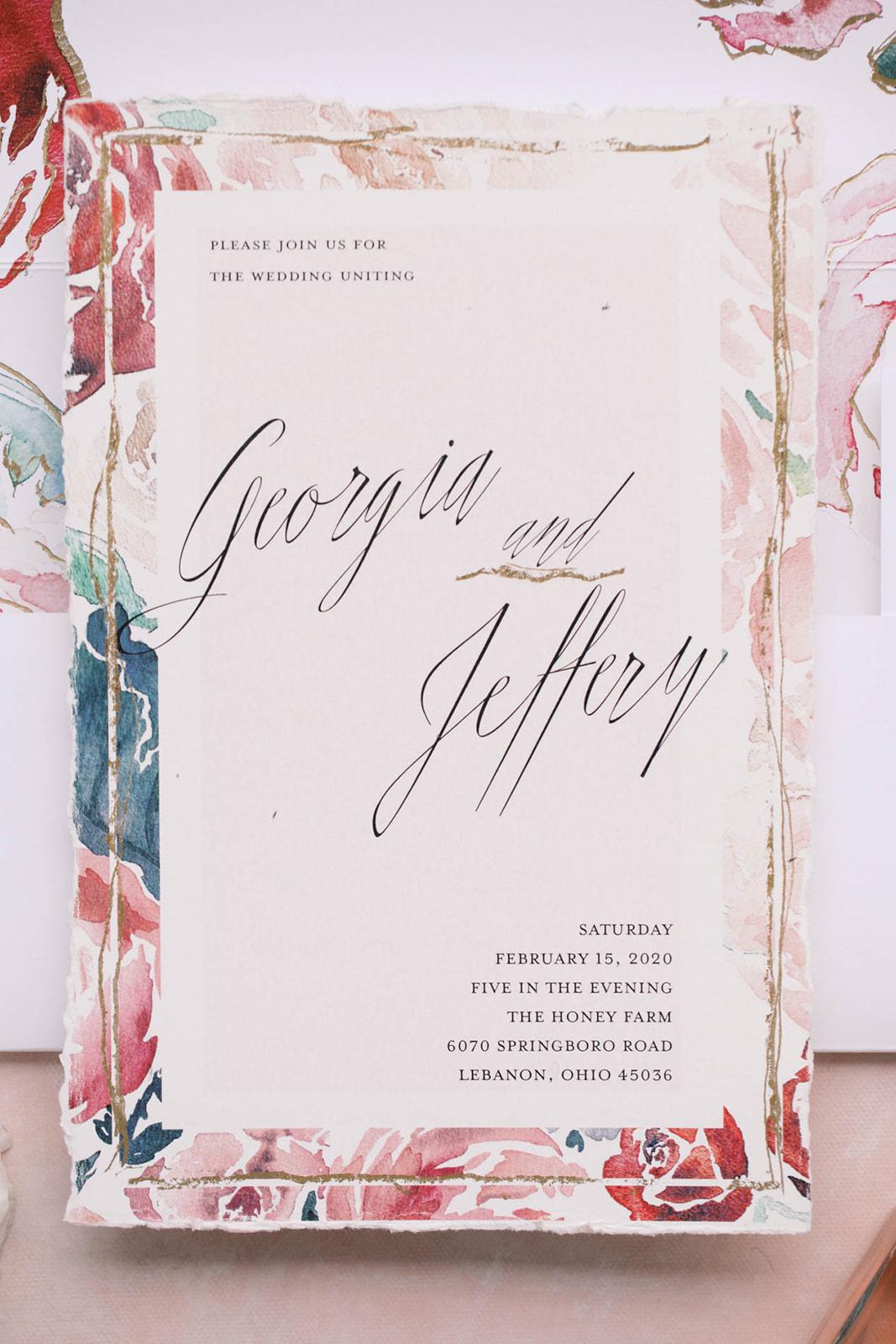close up of romantic invitation
