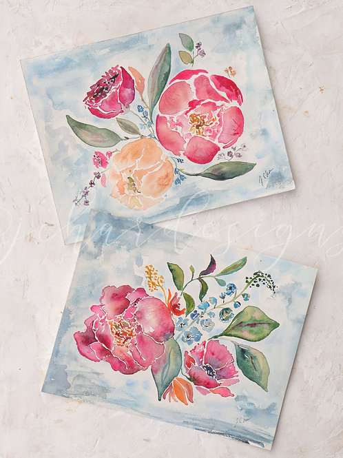 Complete Set of Peony Clouds watercolor art prints by J Char