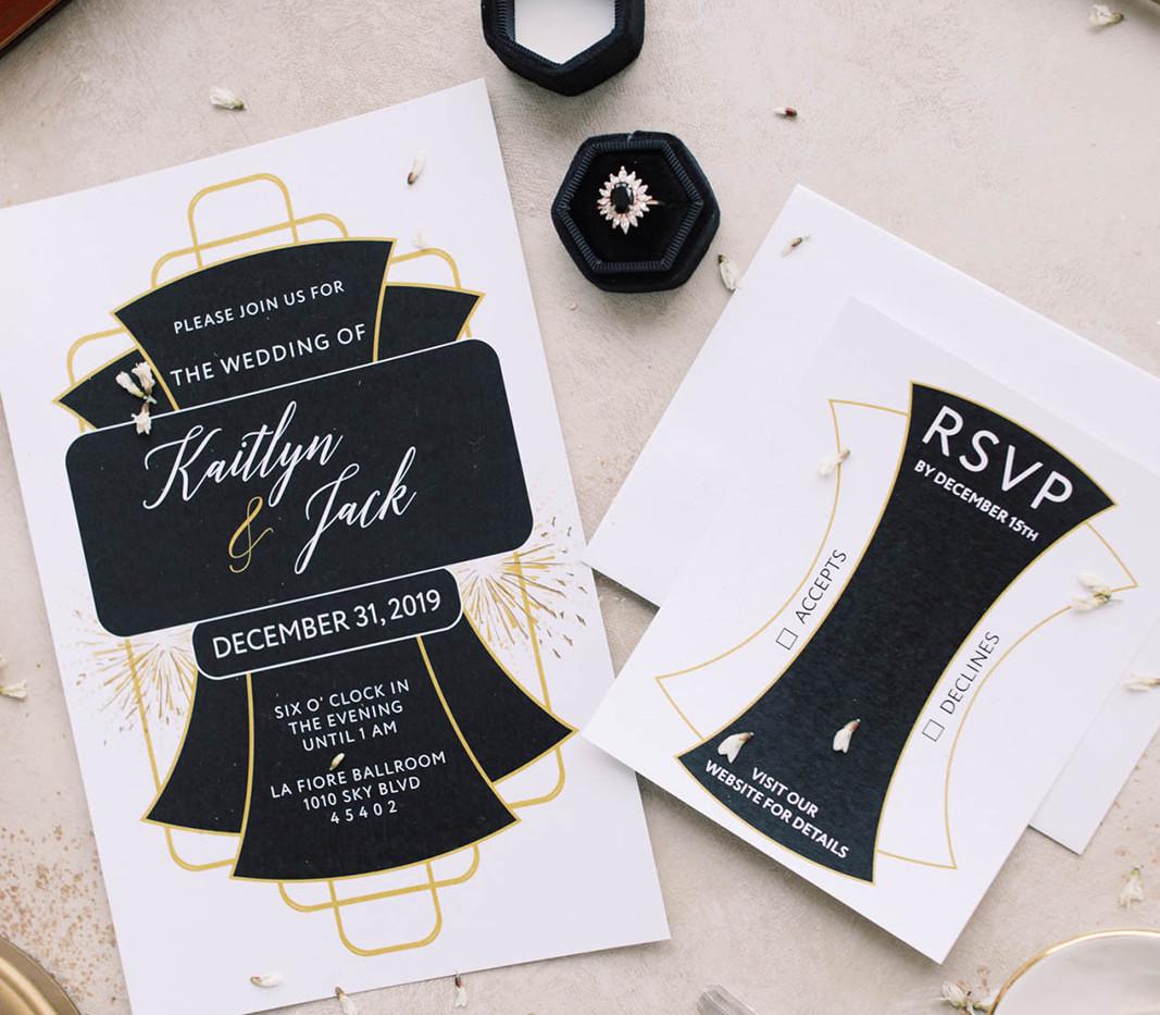 Modern Gatsby- Art deco wedding invitation 3