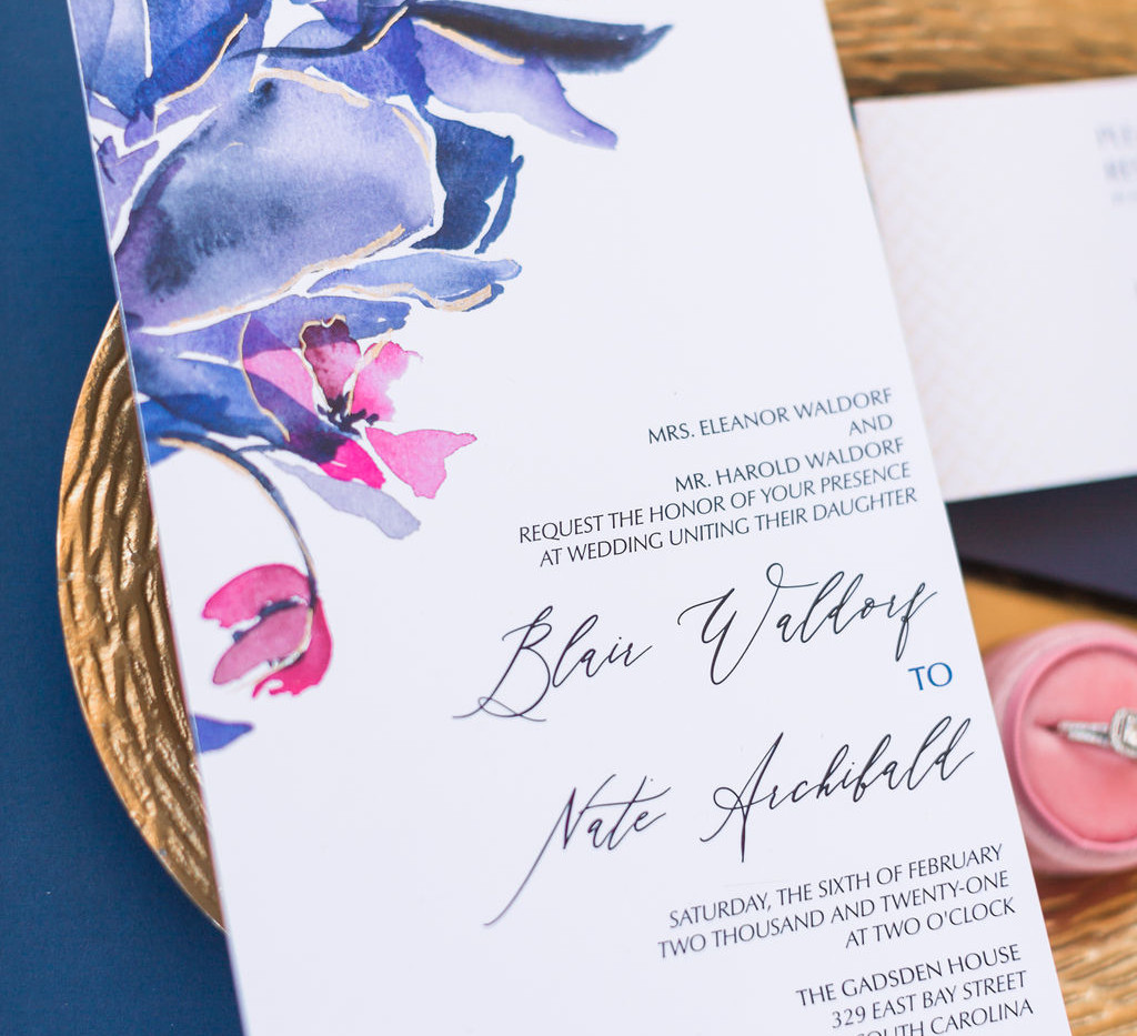 j-char-designs-abstract-blue-classic-invitations-with-pink