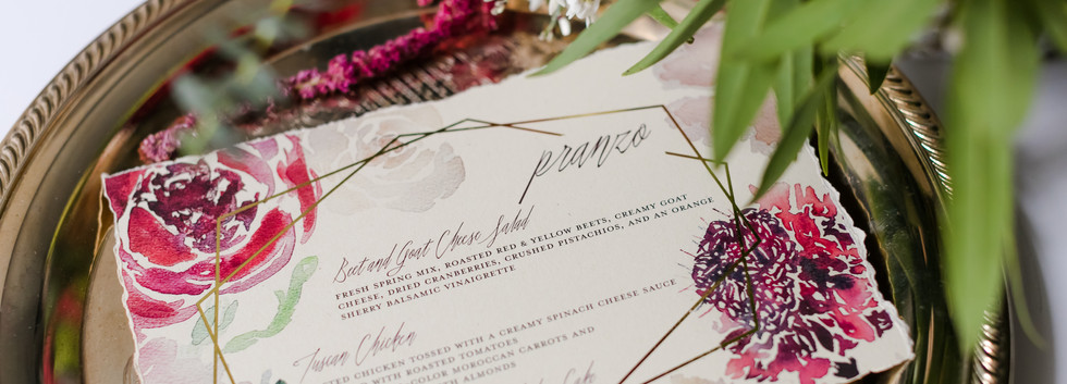 romantic burgandy menu