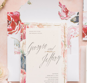 Romantic Shades of Red-Pink, Blush, and Red Modern Watercolor Invitation 1