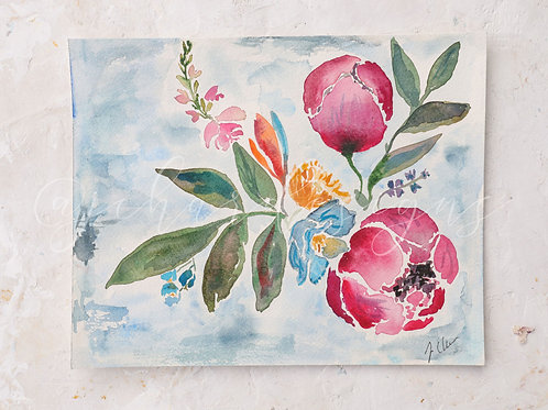 Peony Clouds watercolor fine art print no.3