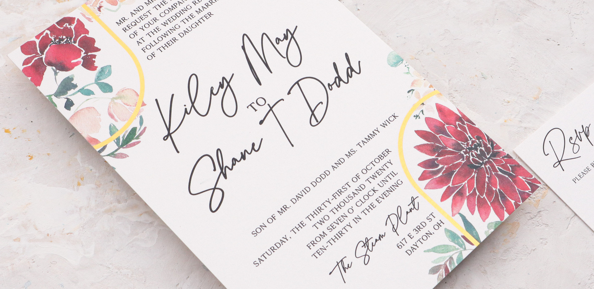 Burst of Burgundy- red and burgundy floral wedding invitaations