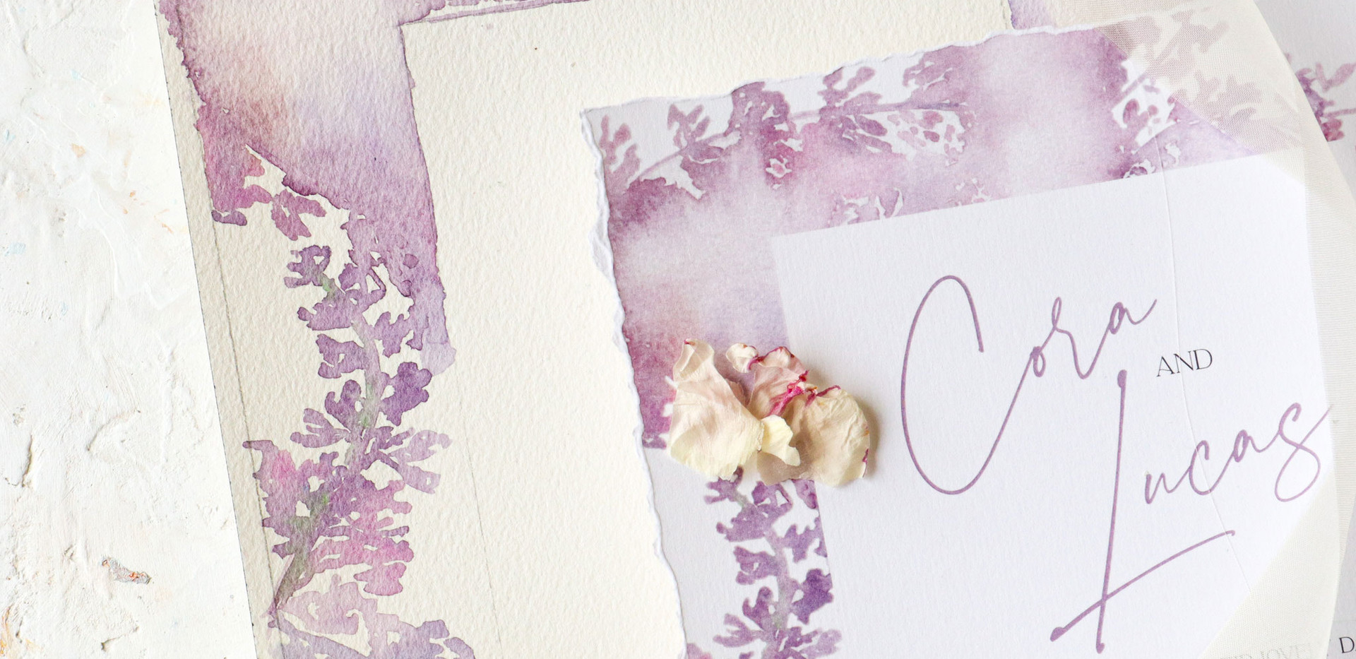 Lavender Dreams- lavender abstract watercolor invitations with hand torn edges