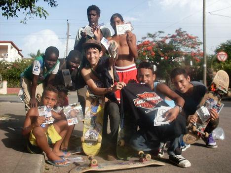 Cuban children skateboarders