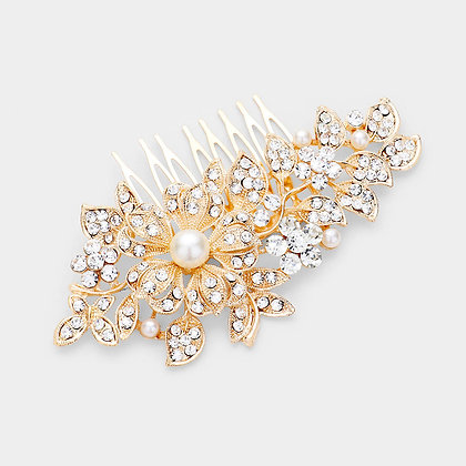 PEARL ACCENTED RHINESTONE EMBELLISHED FLORAL HAIR COMB