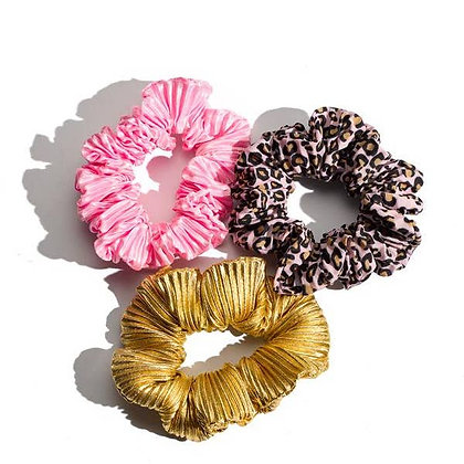 Perfection Ruched Scrunchies - Set of 3 - Mulberry & Grand