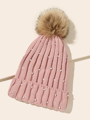 Faux Pearl Pom Pom Hat