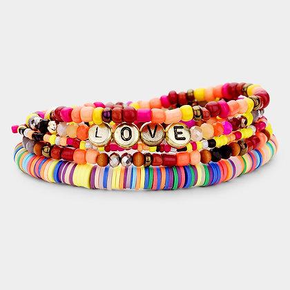 Love Multi Bead Stretch Layered Bracelet - Set of 5