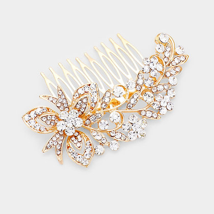 FLORAL RHINESTONE EMBELLISHED HAIR COMB