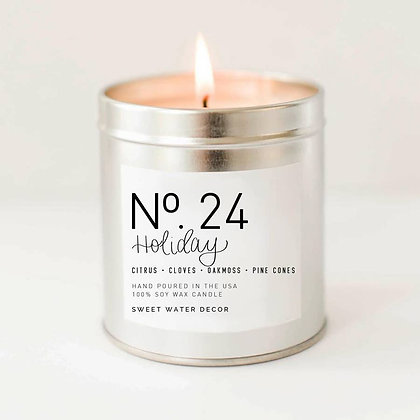 Holiday Soy Candle | Silver Tin Candle by Sweet Water Decor®