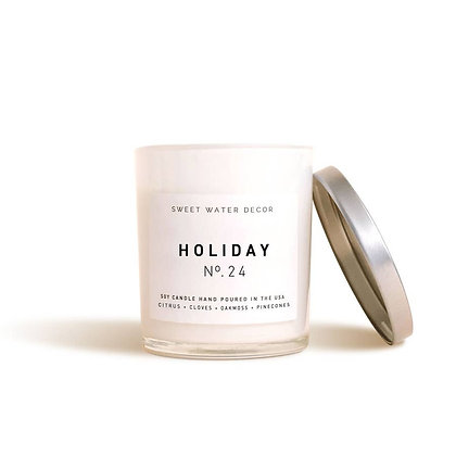 Holiday Soy Candle | White Jar Candle by Sweet Water Decor®